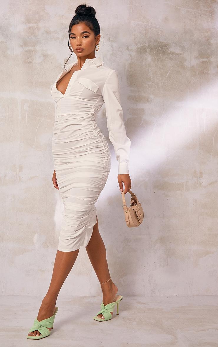 White Pocket Detail Long Sleeve Ruched Midi Shirt Dress 3