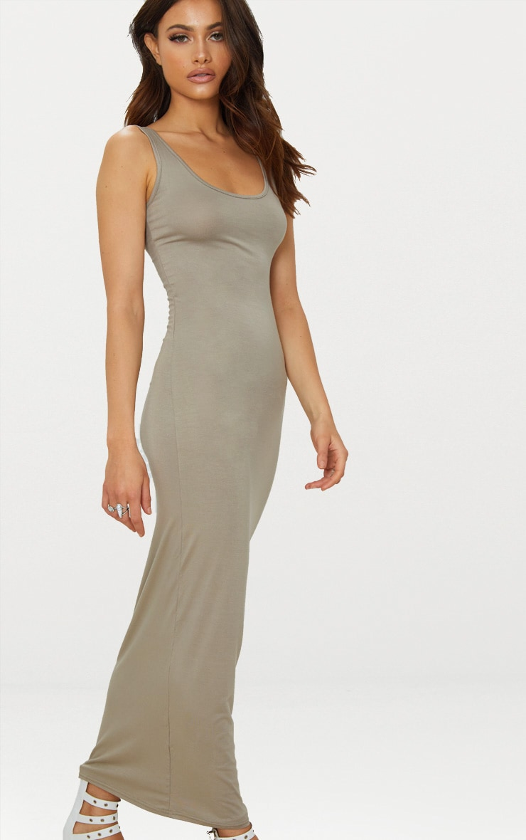 Taupe Basic Maxi Dress 4