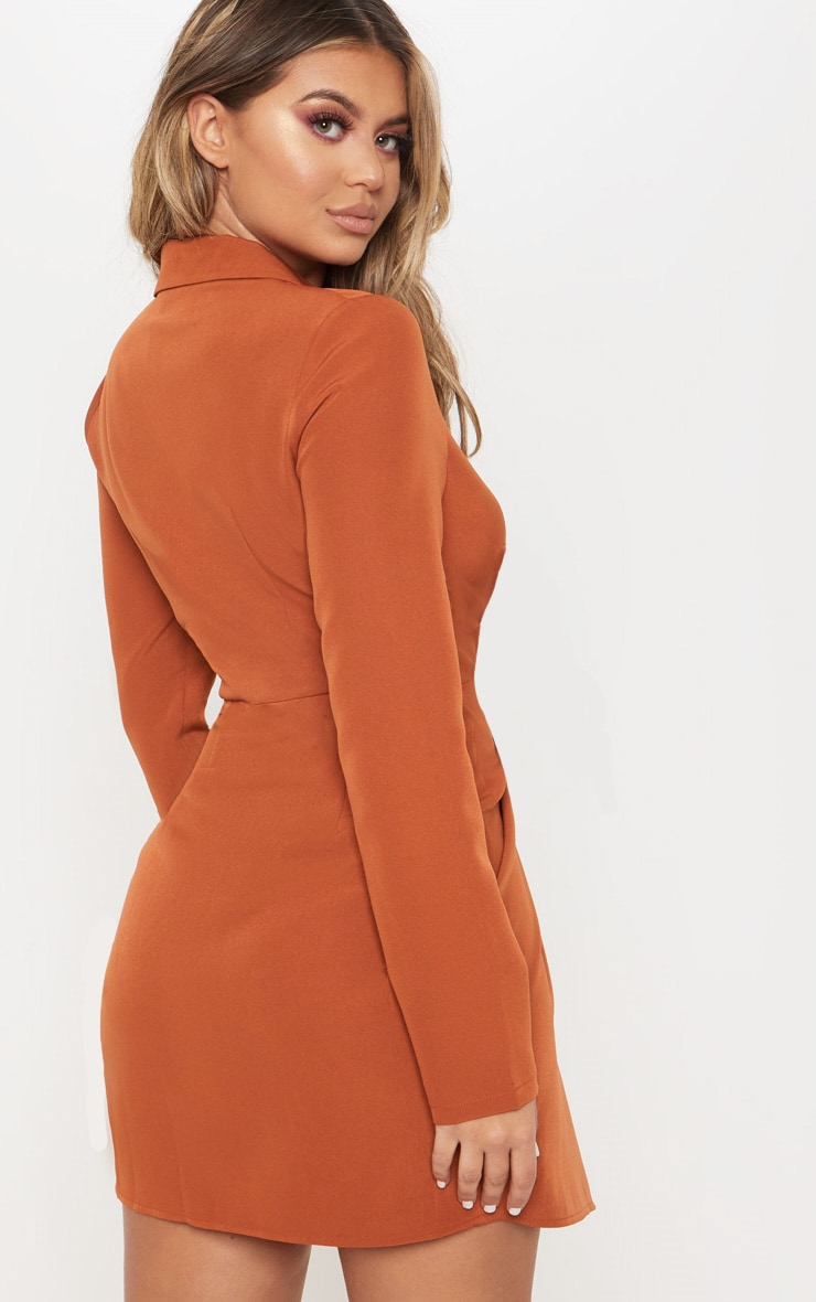 Rust Knot Detail Wrap Blazer Dress 2