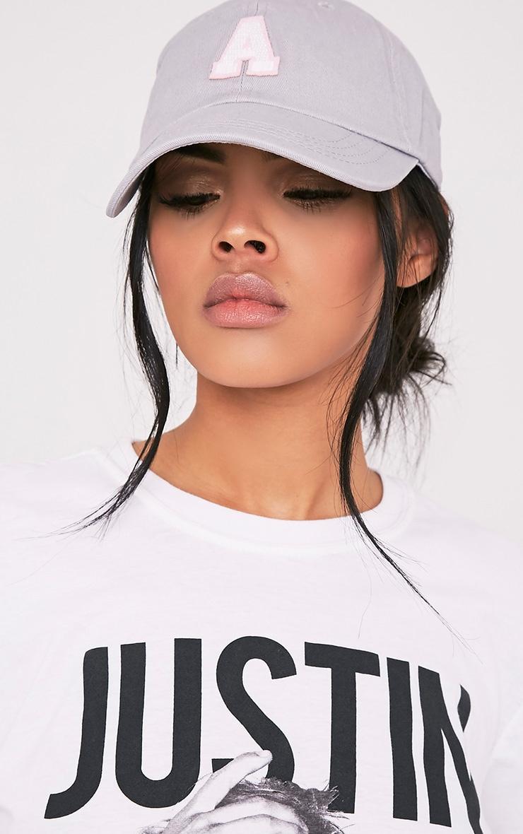 A Grey Slogan Baseball Cap 1