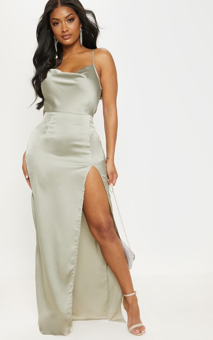 Shape Sage Green Satin Cowl Neck Maxi Dress 2