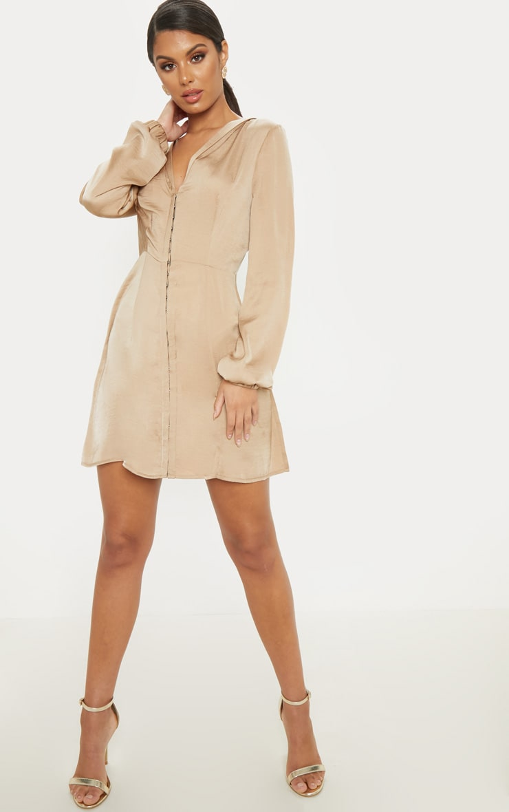 Taupe Satin Hook & Eye Shift Dress 4