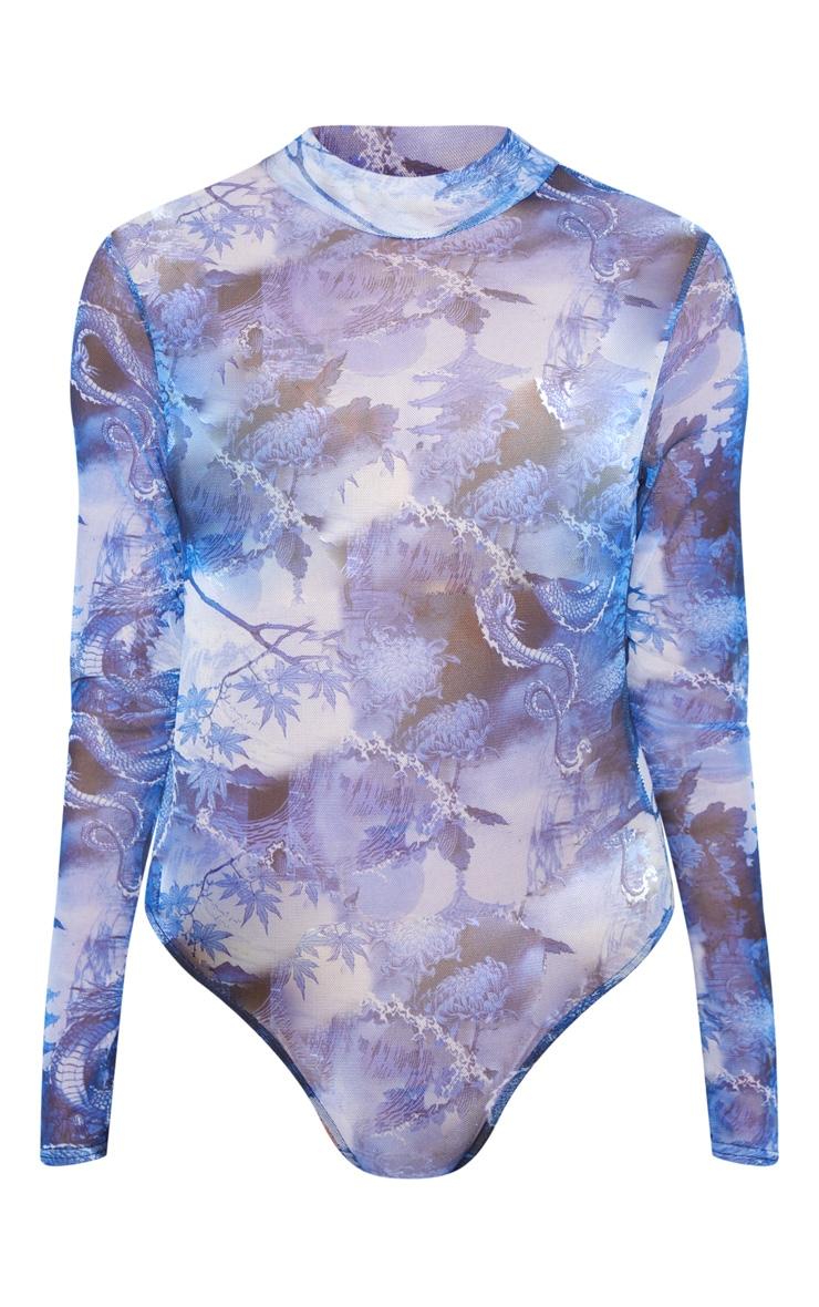 Blue Oriental Printed Mesh High Neck Bodysuit 3