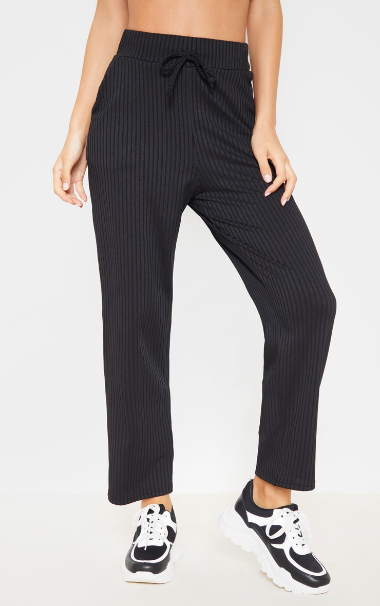 Black Basic Drawstring Waist Cigarette Pants 2
