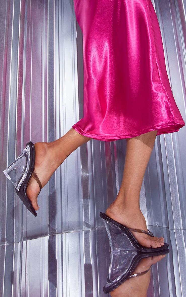 Black Toe Thong Clear Wedges 1