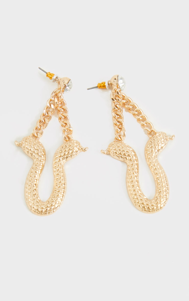 Gold Ribbed Snake Chain Drop Earrings 2