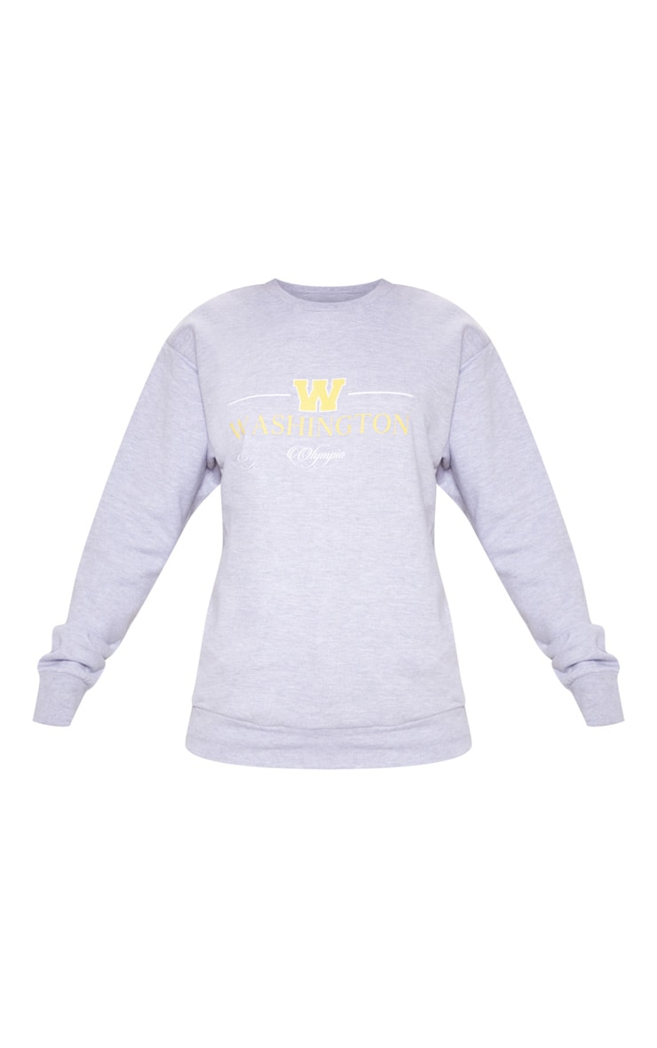 Sweat oversize gris imprimé Washington Olympia 3