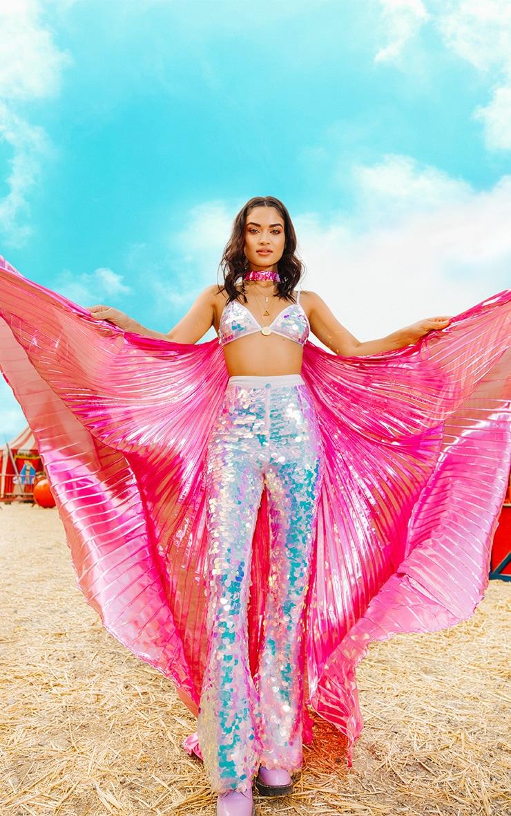 Pink Iridescent Beach Statement Wings