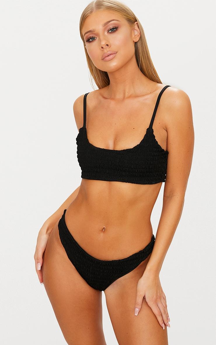Black Crinkle Scoop Neck Bikini Top 1