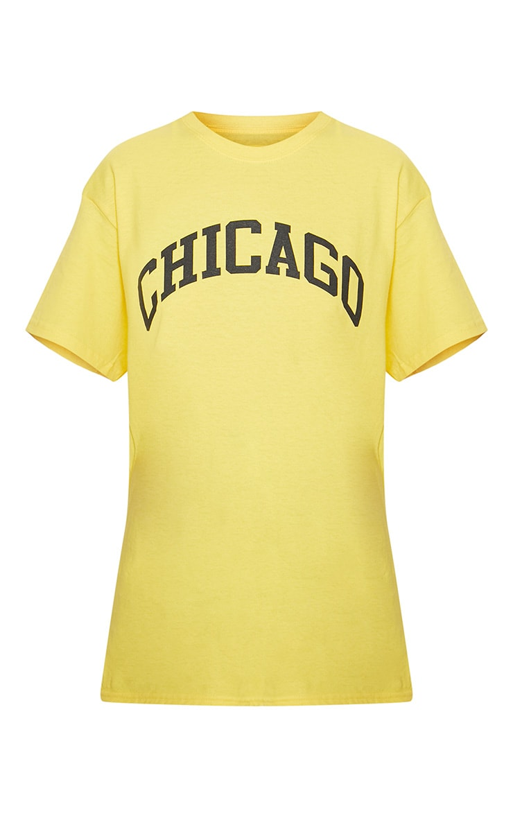 Yellow Chicago Slogan Oversized T Shirt 3