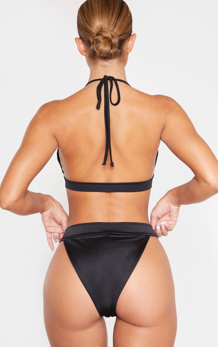 Bas de bikini noir à anneau carré écaille de tortue 3