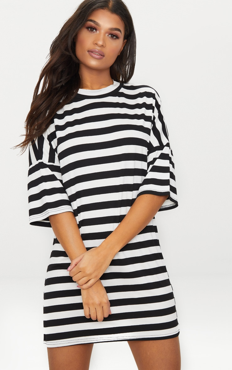 Monochrome Oversized Stripe T Shirt Dress 1