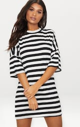 Monochrome Oversized Stripe T-Shirt Dress 1