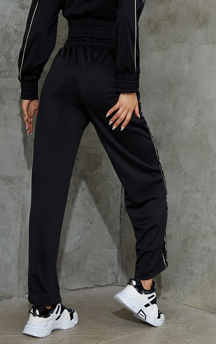 Black Piping Contrast Wide Leg Sports Jogger 3