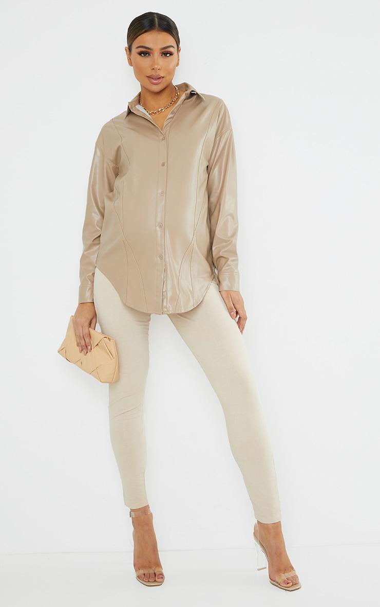Maternity Stone Bump Seam Detail Faux Leather Shirt 3
