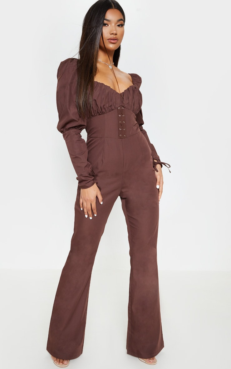 Chocolate Puff Sleeve Lace Up Waist Jumpsuit 4