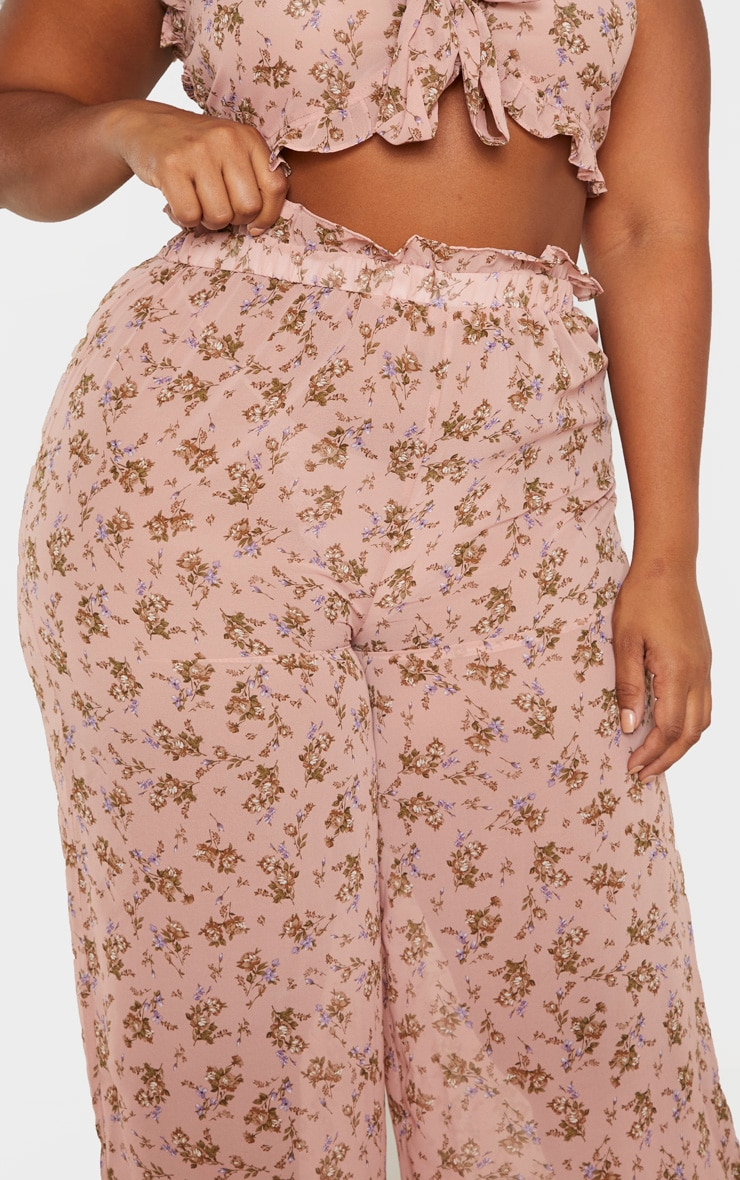 Plus Dusty Pink Sheer Chiffon Floral Ruched Waist Wide Leg Pants  5
