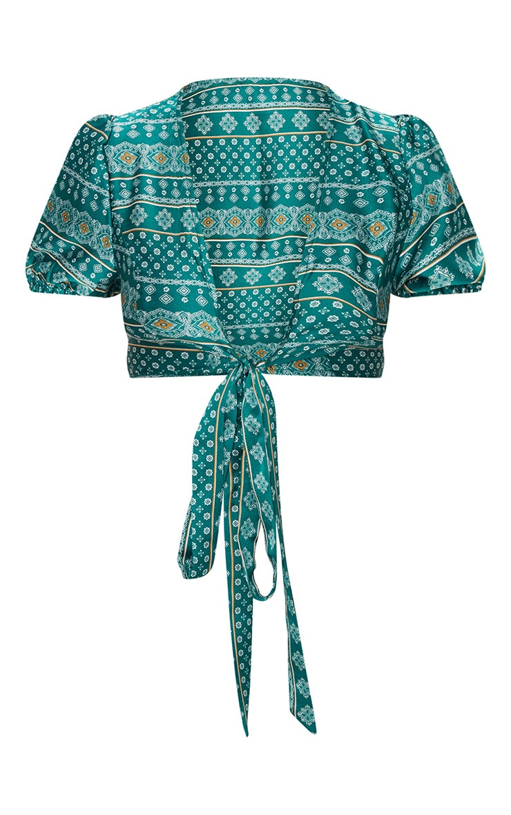 Petite Green Paisley Printed Puff Sleeve Tie Front Crop Top 3