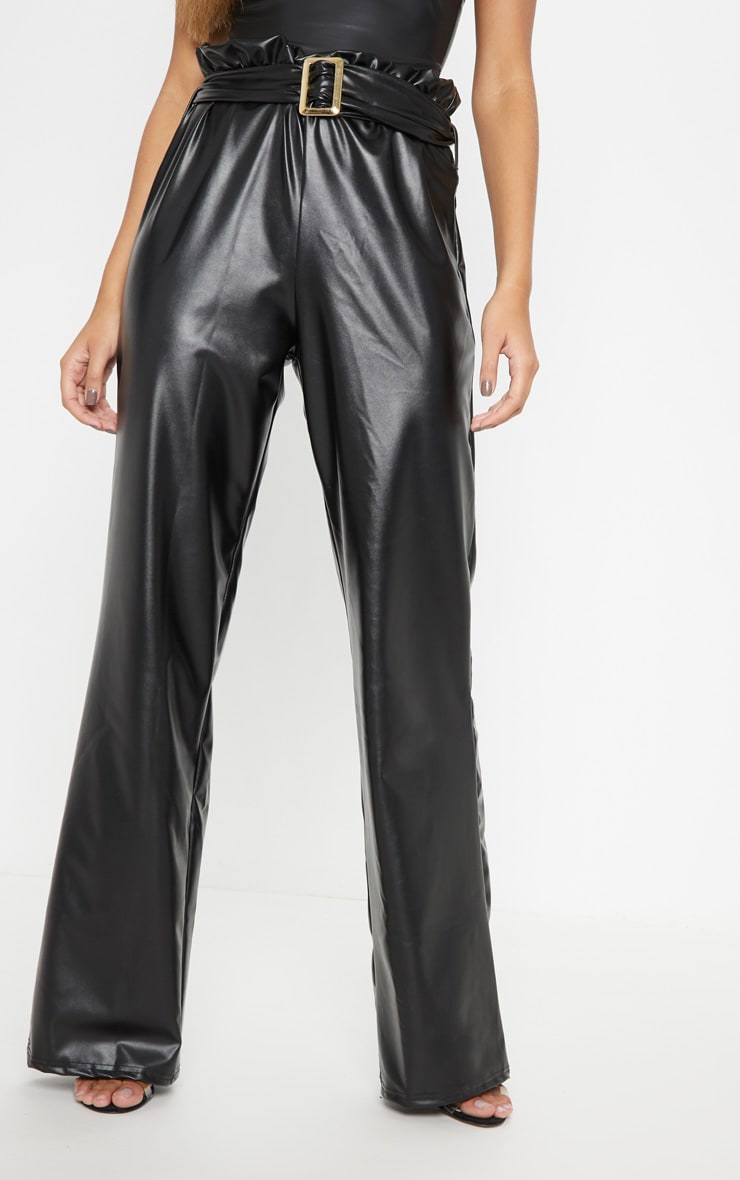 Black Faux Leather Belted Waist Wide Leg Trouser 2