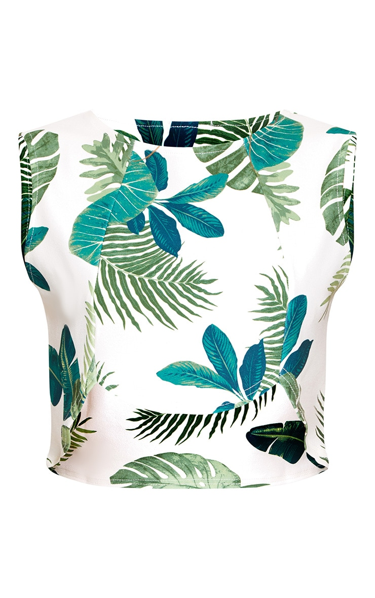 Green Leafy Print Curved Hem Crop Top  3