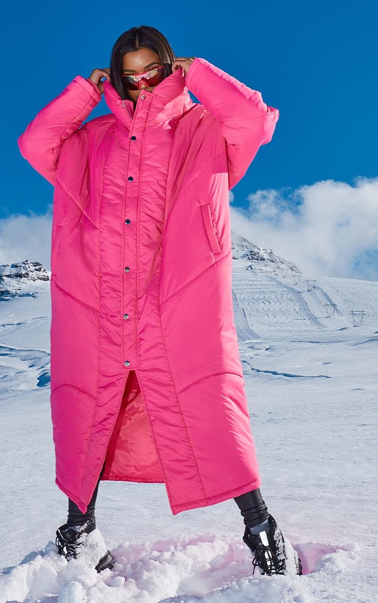 Dark Pink Midi Oversized Puffer Coat 5