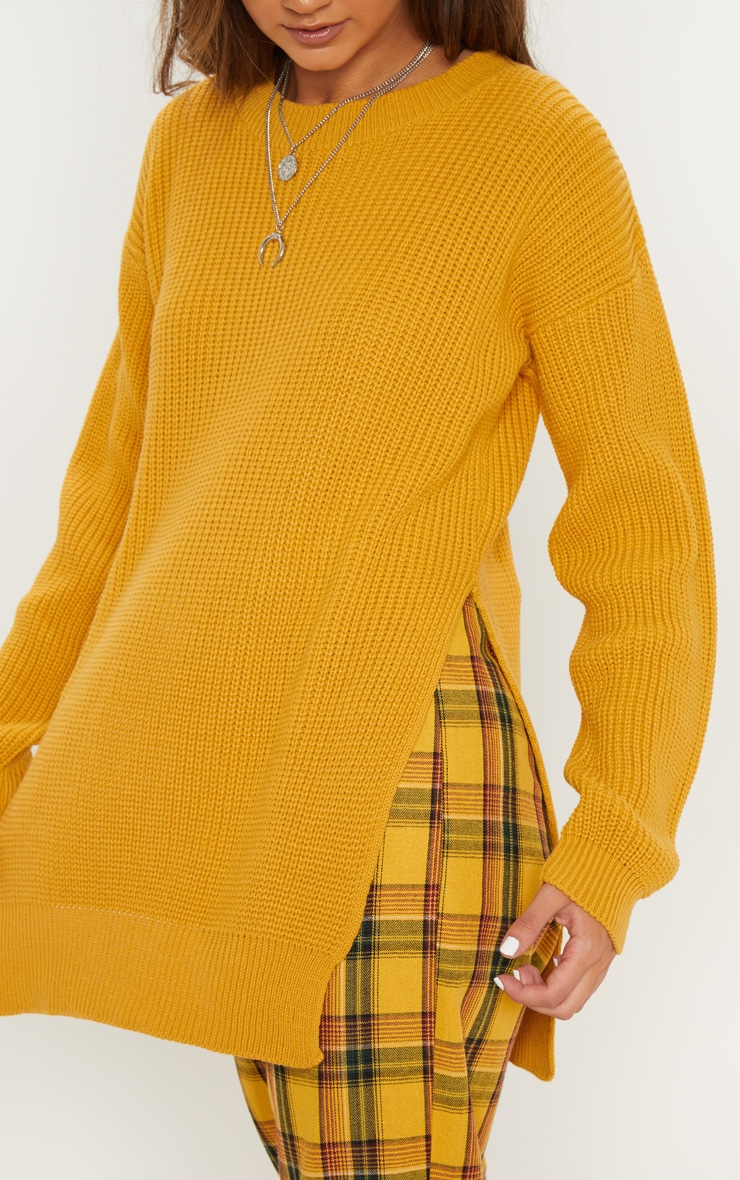 Rexx Mustard Round Neck Side Split Sweater 5