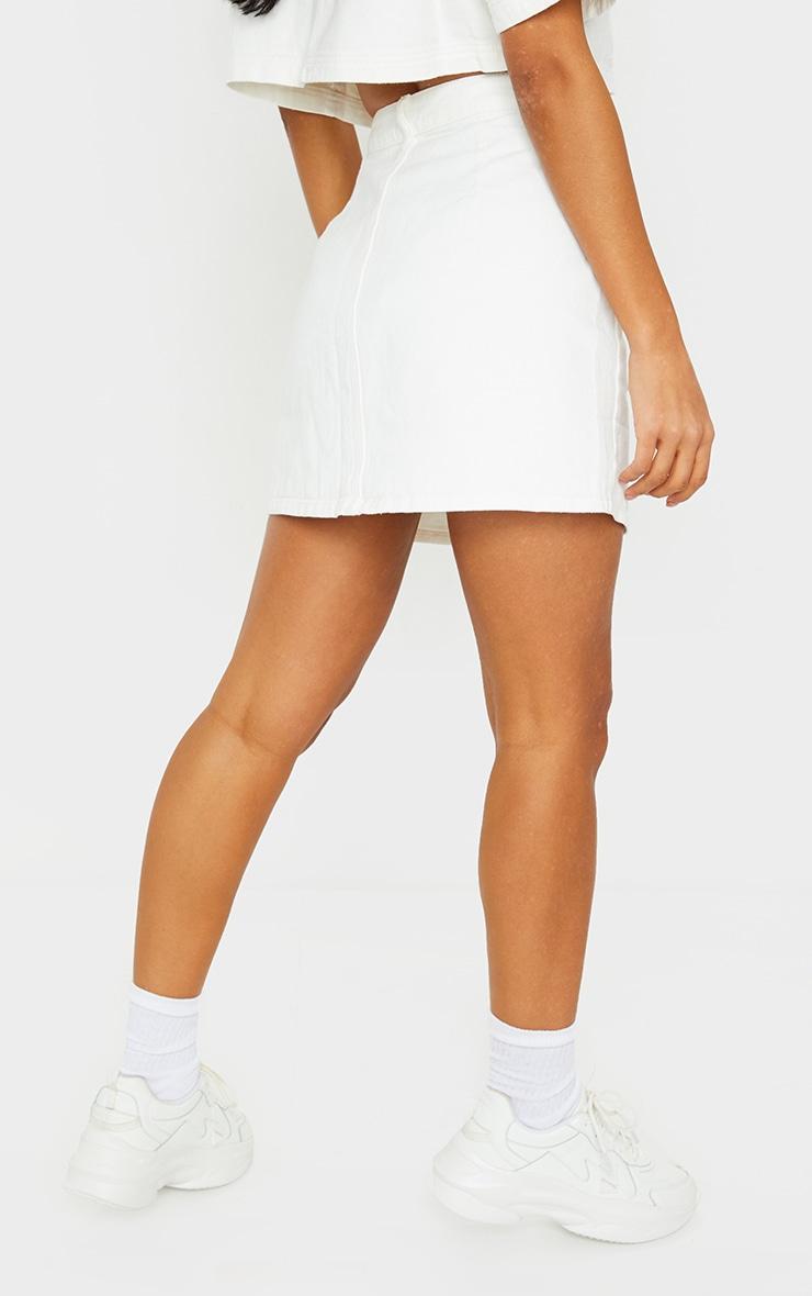White Button Up Pocket Detail Denim Mini Skirt 3