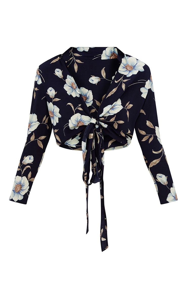 Navy Floral Print Tie Front Shirt  3