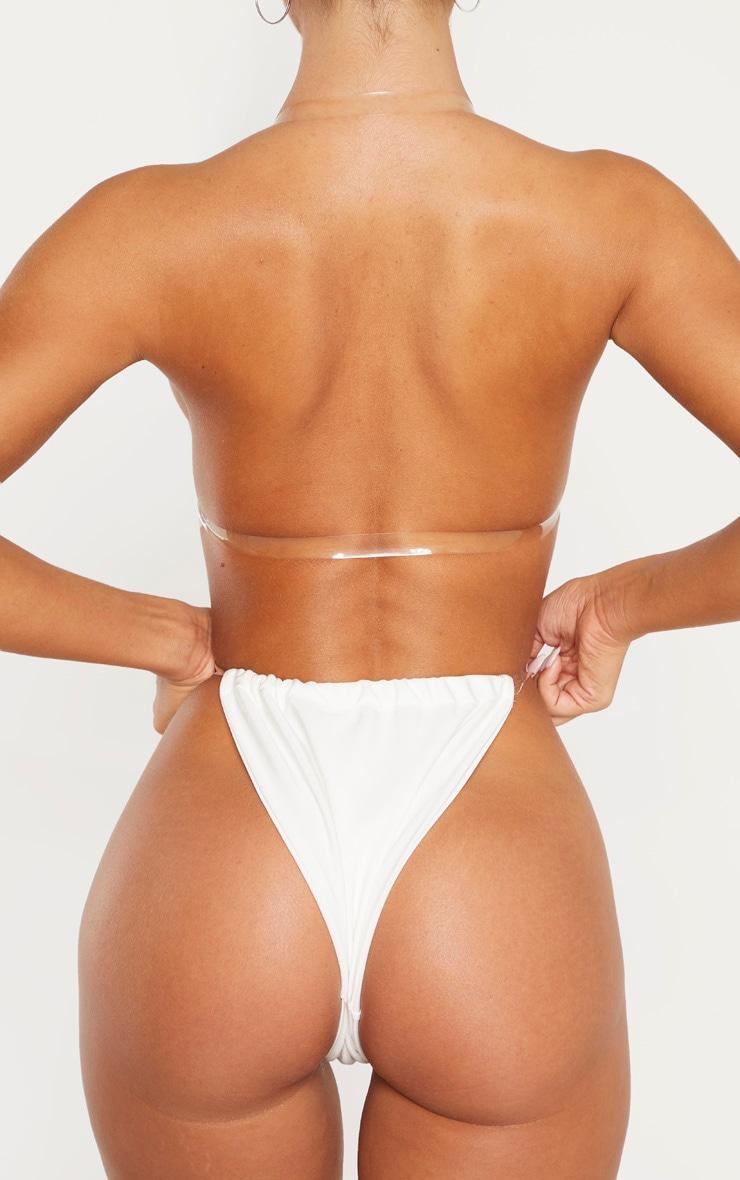 White Clear Strap Bikini Bottom 3