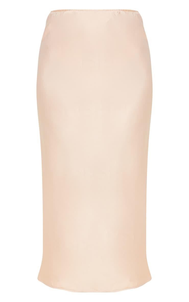 Champagne Midi Satin Skirt 3