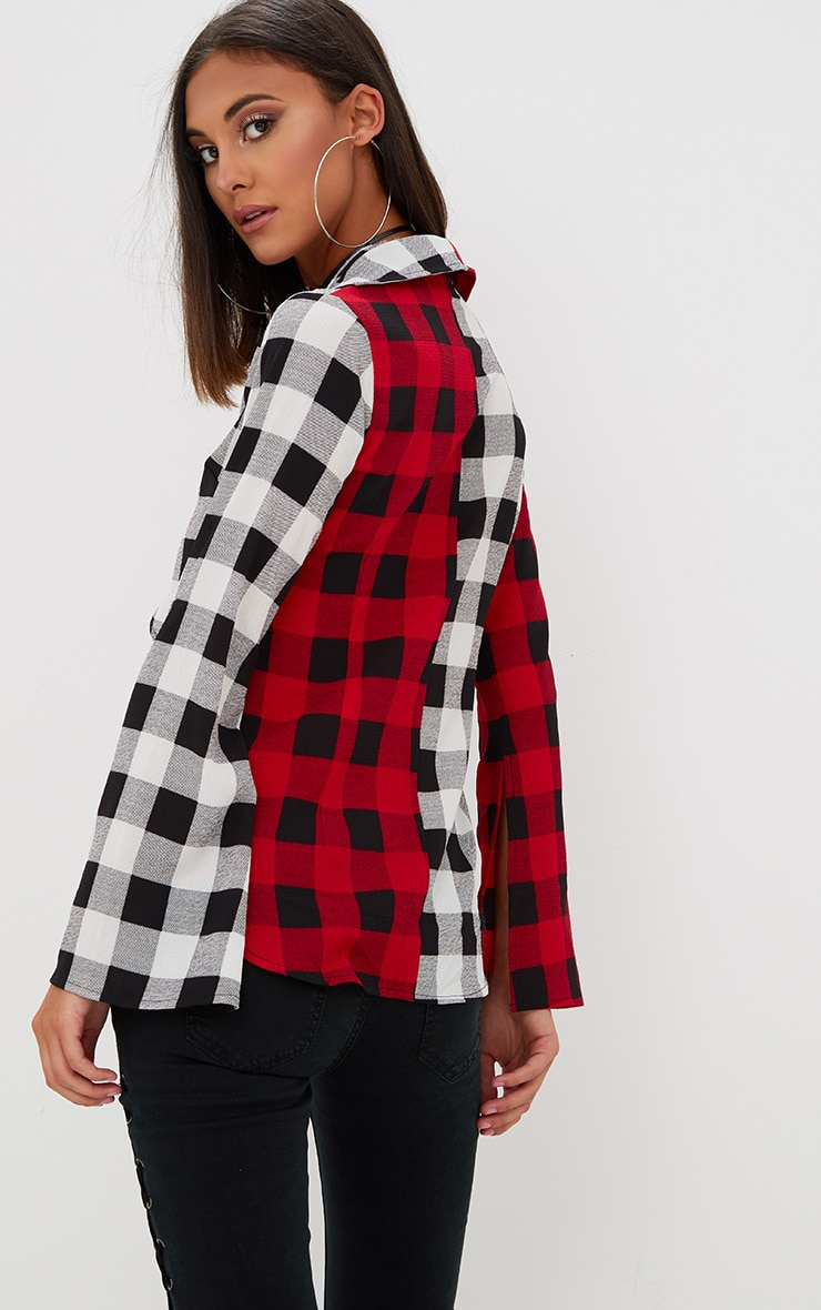 Red Spliced Check Tie Shirt 2