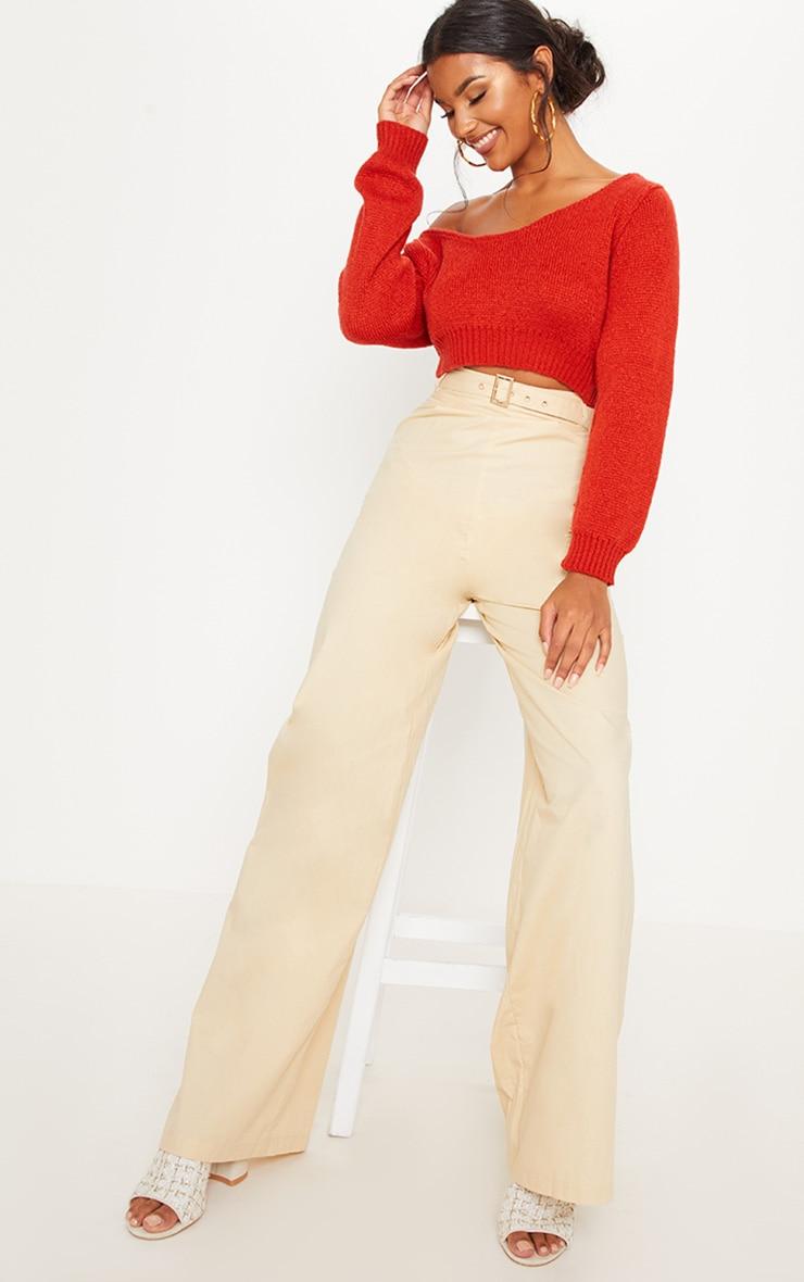 Rust V Neck Off The Shoulder Soft Knitted Crop Jumper 3