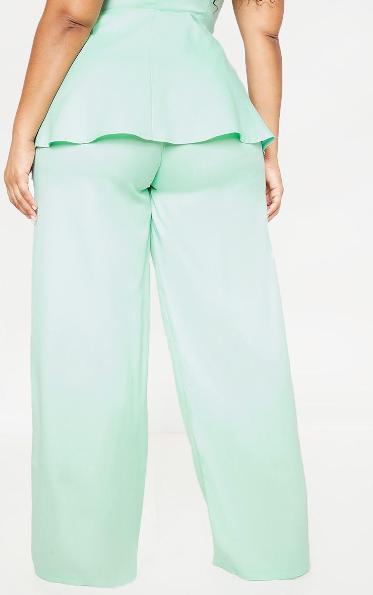 Plus Sage Green Woven Wide Leg Pants 4