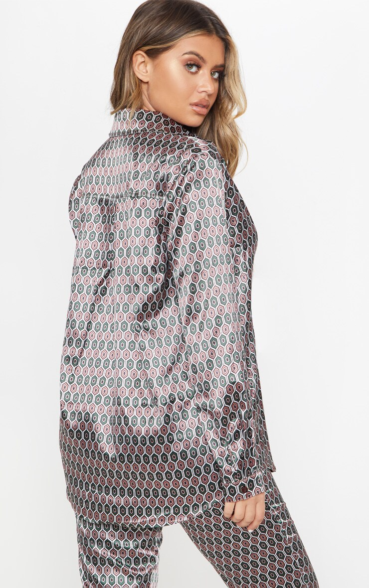 Brown Geo Print Oversized Shirt 2