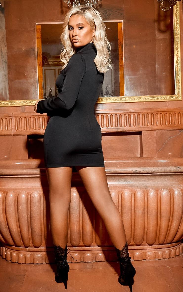 Black High Neck Cut Out Zip Front Dress 2