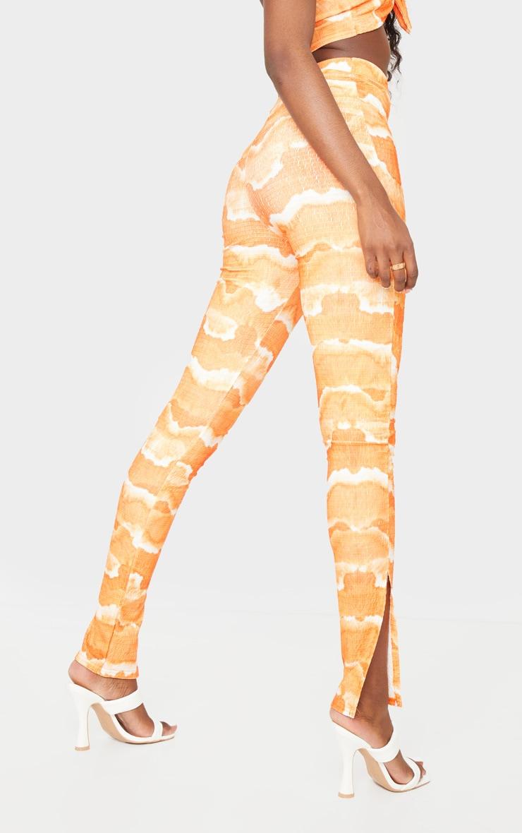 Tall Orange Tie Dye Crinkle Split Hem Legging 3