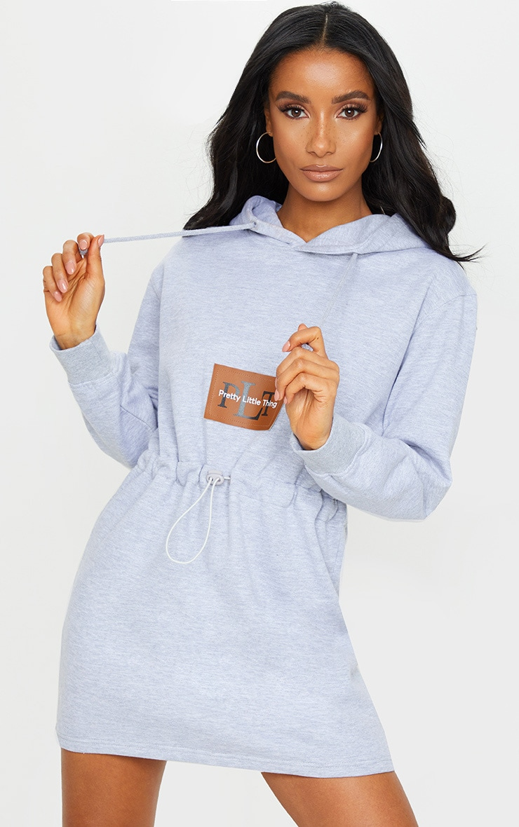 PRETTYLITTLETHING Grey Toggle Front Hoodie Sweater Dress 1