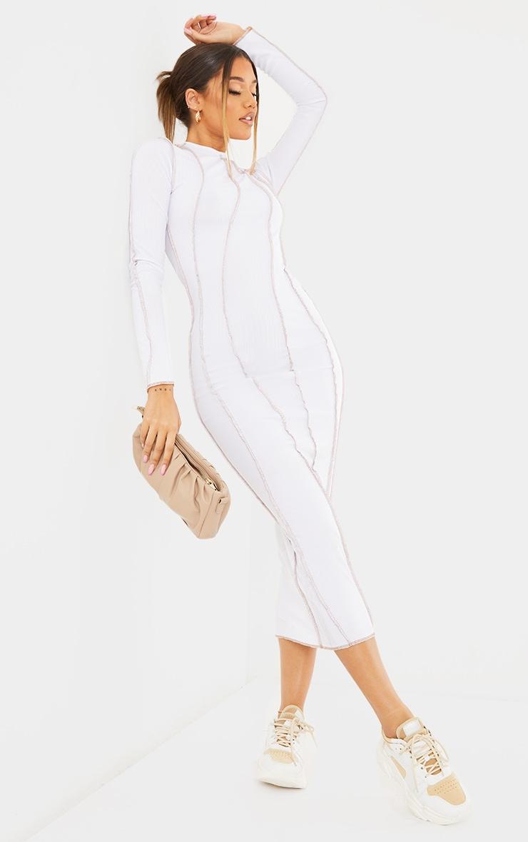 White Rib Asymmetric Seam Detail Long Sleeve Midi Dress 1