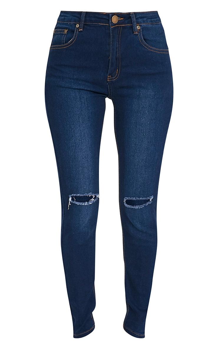 Dark Wash Knee Rip Slim Jean 3