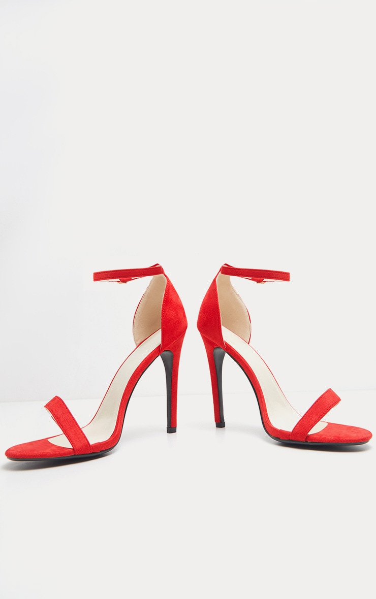 Clover Red Strap  Heeled Sandals 4