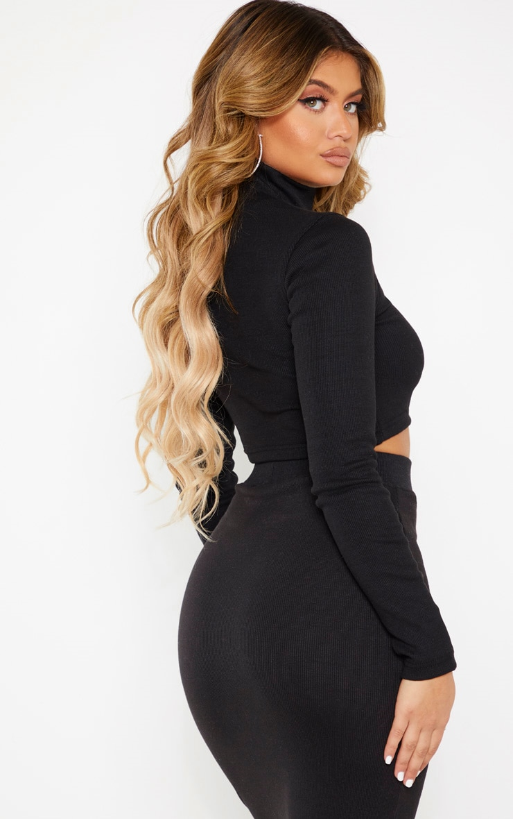Black High Neck Structured Rib Long Sleeve Crop Top 2