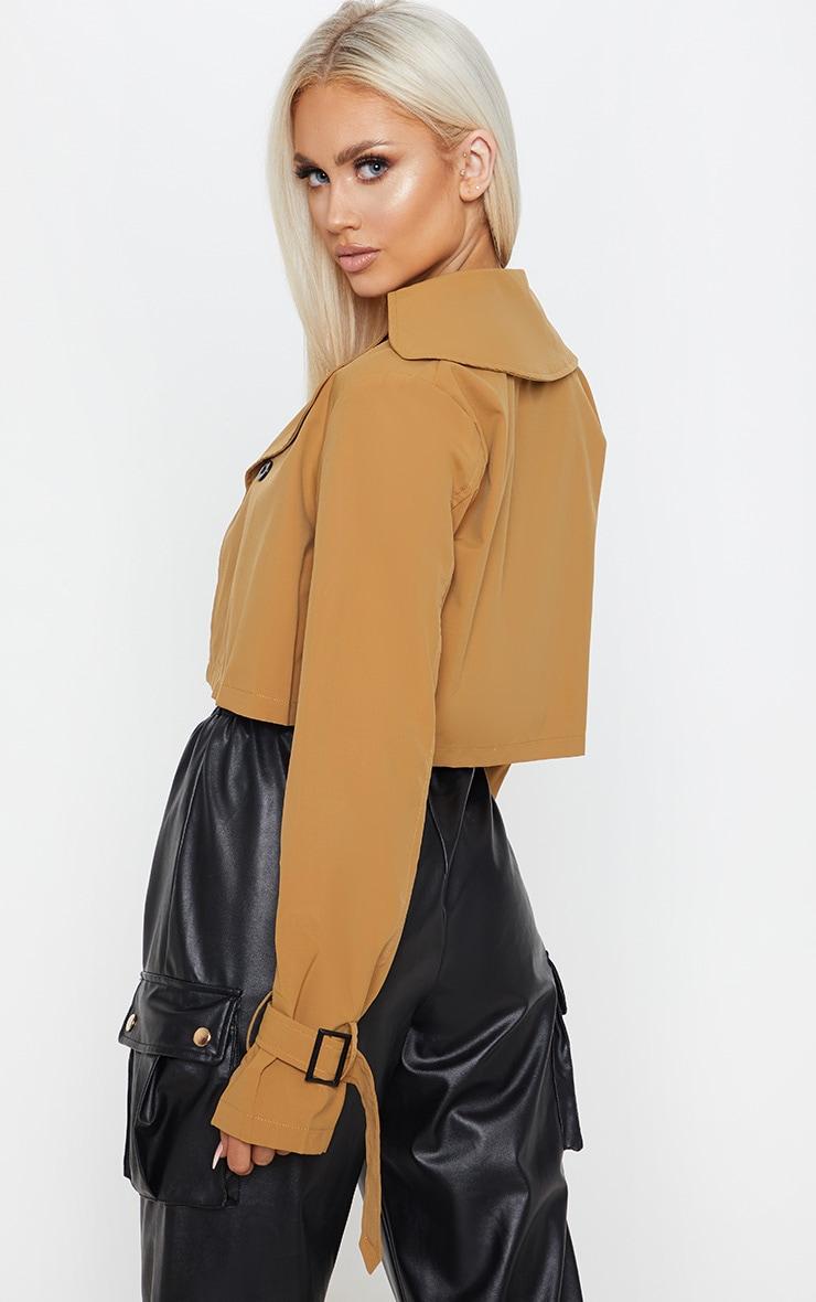 Camel Woven Button Detail Crop Jacket 2