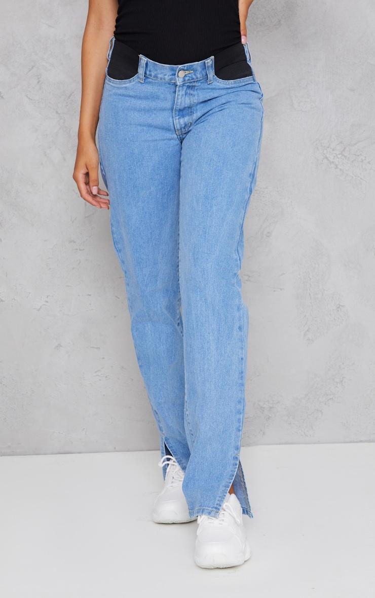 Maternity Light Wash Straight Leg Split Hem Jeans 2