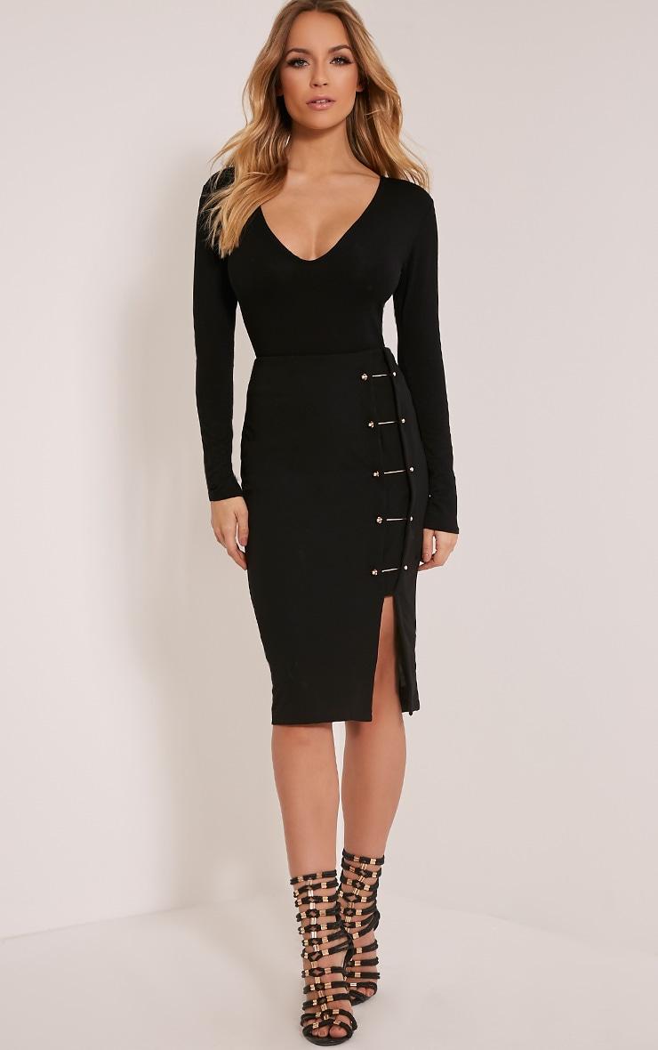 Nadie Black Plunge Jersey Bodysuit 2