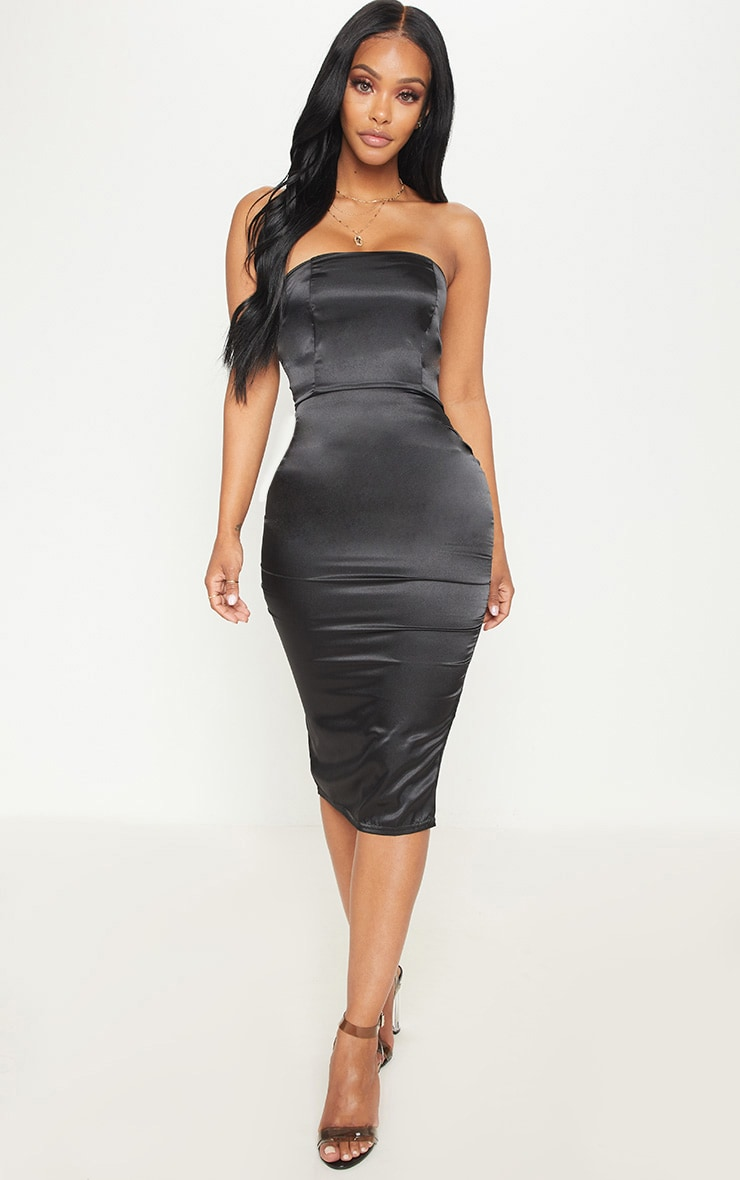 Shape Black Satin Bandeau Midi Dress Curve