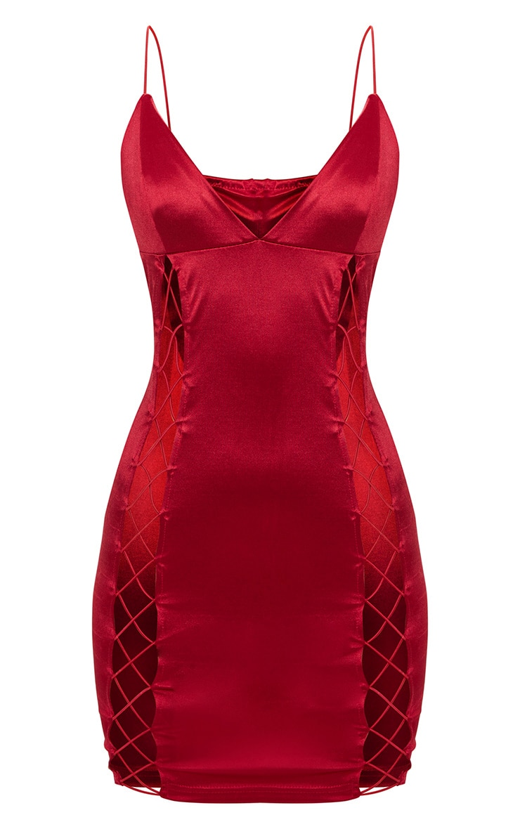 Dark Red Strappy Plunge Lace Up Satin Bodycon Dress 3