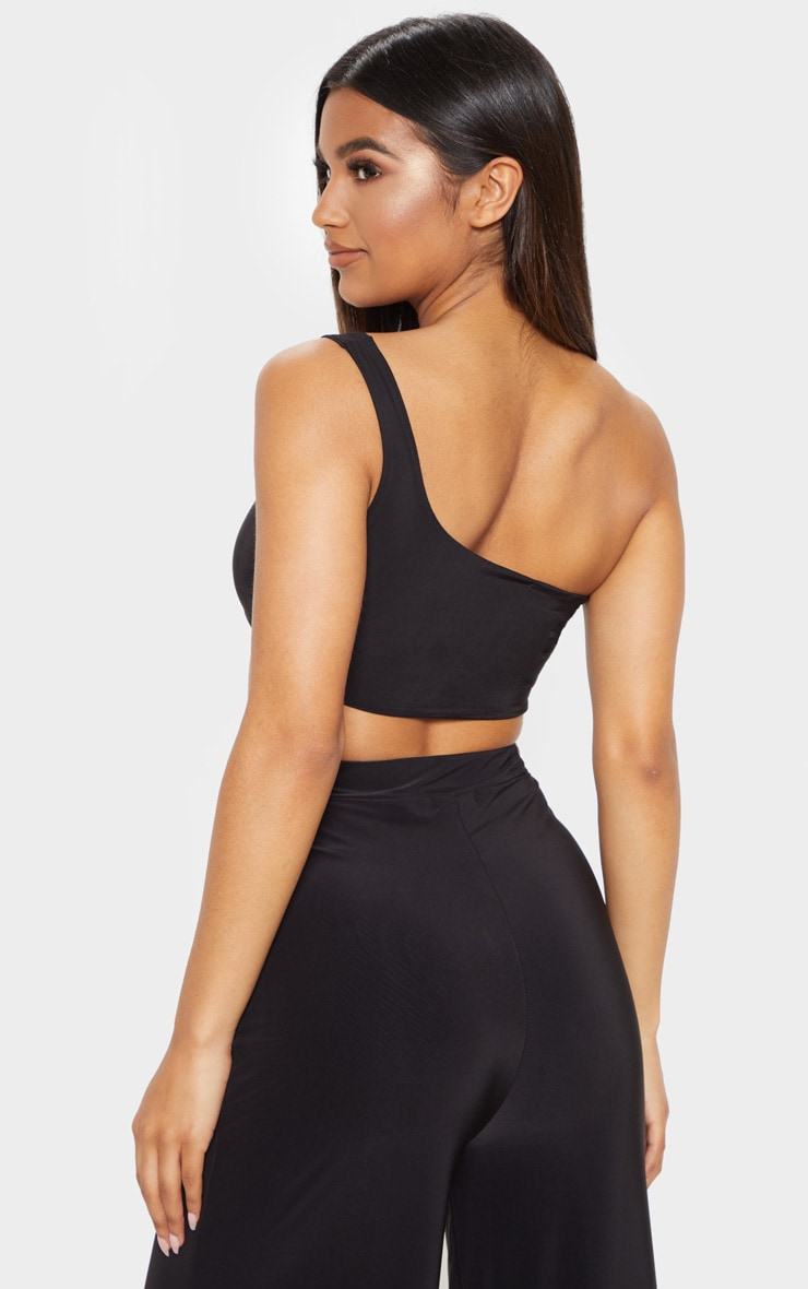 Black Slinky One Shoulder Crop Top 2