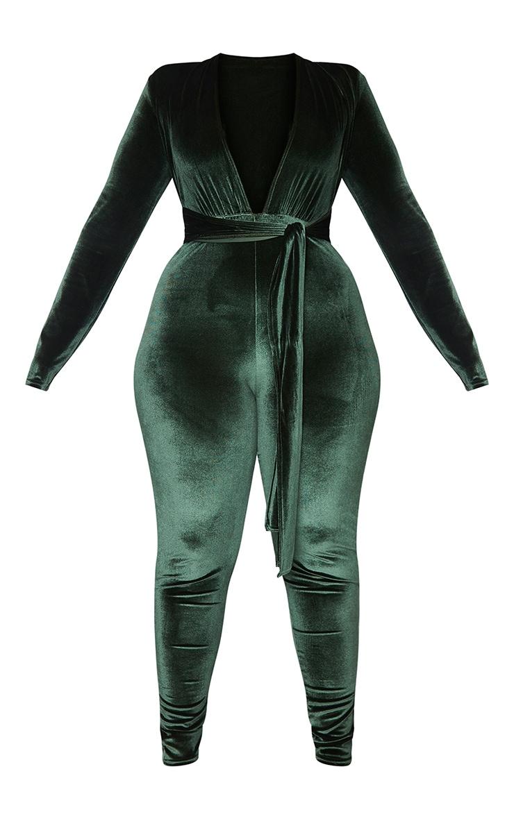 Plus Olive Velvet Deep Plunge Tie Waist Jumpsuit 5