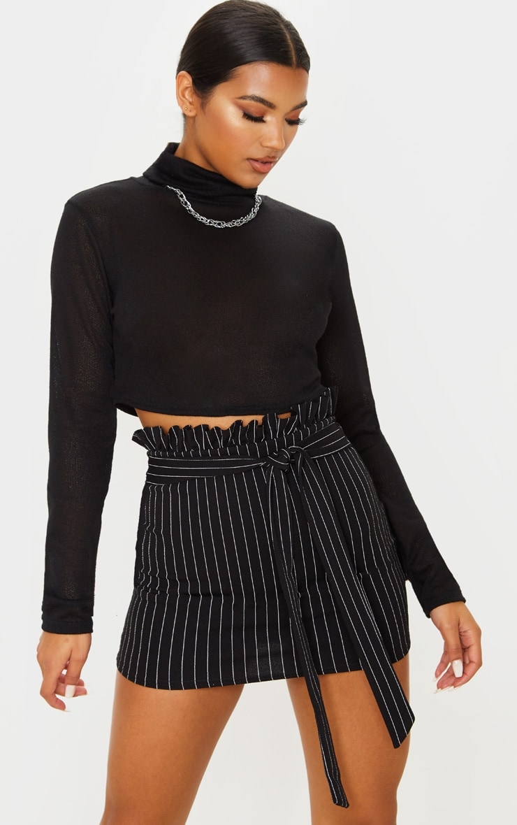 Black Pinstripe Paperbag Mini Skirt  1