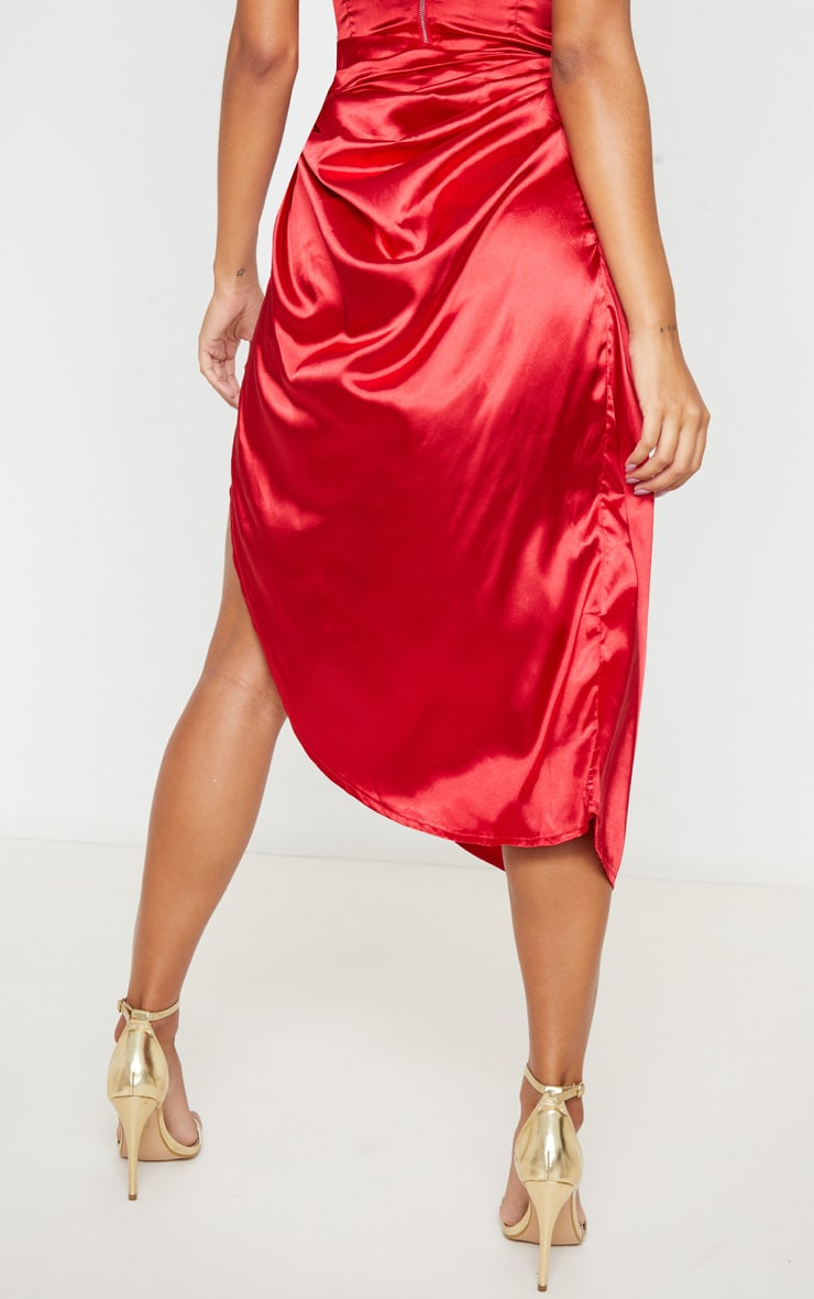 Red Ruched Tie Side Midi Skirt 4